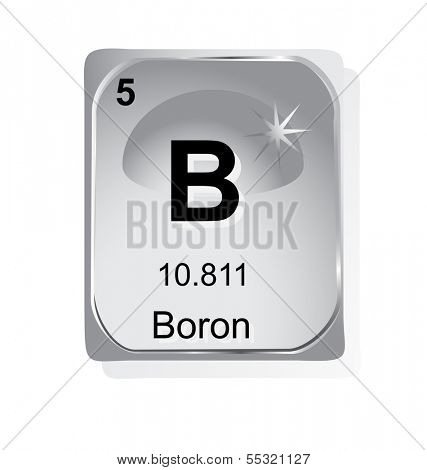 Boron chemical element with atomic number, symbol and weight