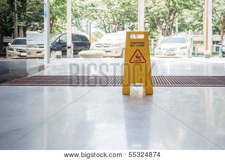 Wet Floor Sign On The Floor