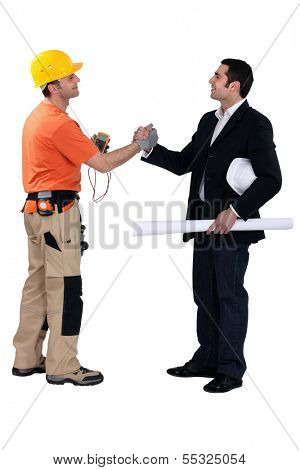 Engineering forming a pact with a tradesman poster