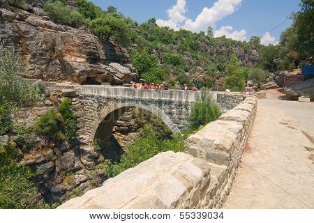GREEN CANYON, TURKEY - JULY 10: White water rafting on the rapids of river Manavgat on July 10Turkey