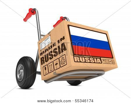Made in Russia - Cardboard Box on Hand Truck.