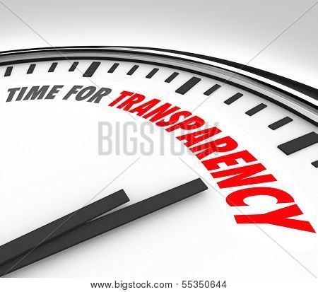 Time for Transparency Words Clock Clear Honest Answer
