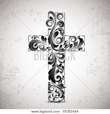 Merry Christmas and Happy New Year 2014 celebration concept with stylish Christian Cross on abstract background.  poster