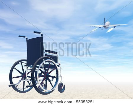 Wheelchair and travel by plane- 3D render