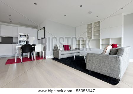 Modern Open Plan Living Area With Fully Fitted Kitchen
