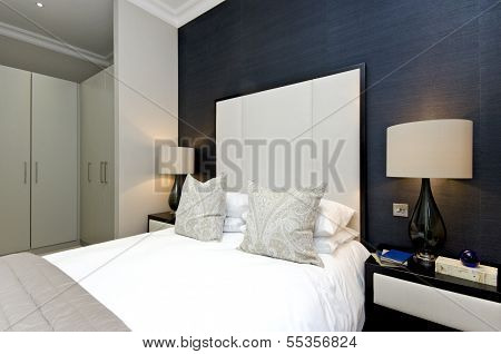 Contemporary Bedroom Detail With King Size Bed With Luxury Designer Furniture