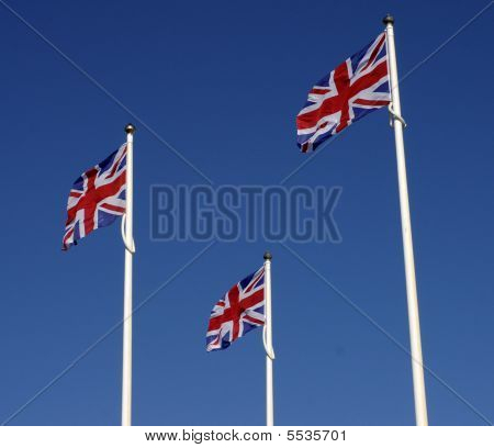 Three Union Flags Fluttering