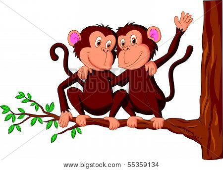 Two monkeys cartoon sitting on a tree