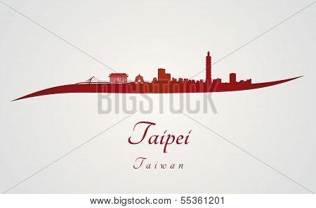 Taipei Skyline In Red