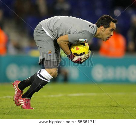 BARCELONA - NOV, 30: Claudio Bravo of Real Sociedad in action during a Spanish League match at the Estadi Cornella on November 30, 2013 in Barcelona, Spain