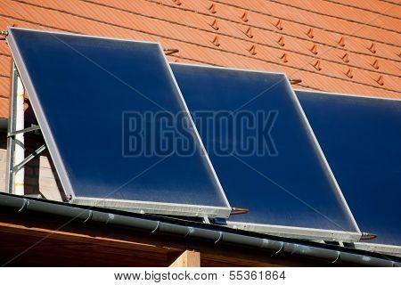 Three Photo voltaic Solar Panels Side View