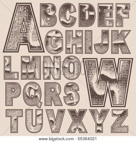 Grunge scratched alphabet set, vector font