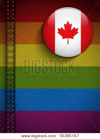 Vector - Gay Flag Button on Jeans Fabric Texture Canada poster