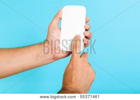 Touchscreen Mobile Phone Concept, Hand holding a cell phone concept