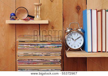 Magazine, Clock, Books And Stationery