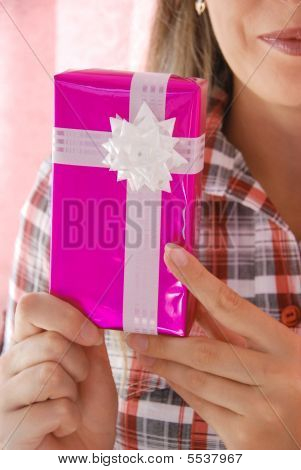 Woman Holds Present