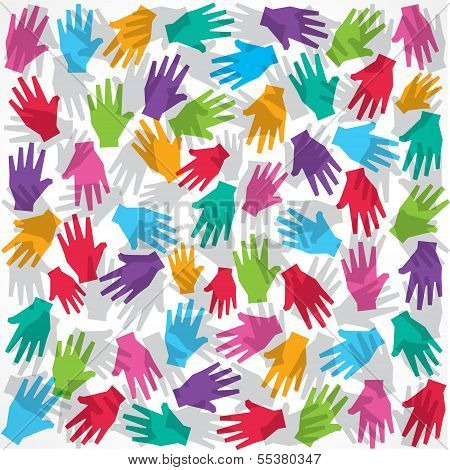 Colorful hand background stock vector