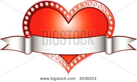 Heart Red With White Line (vector)