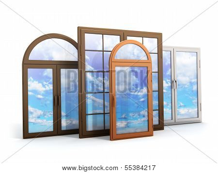 Window With Reflections Of The Sky