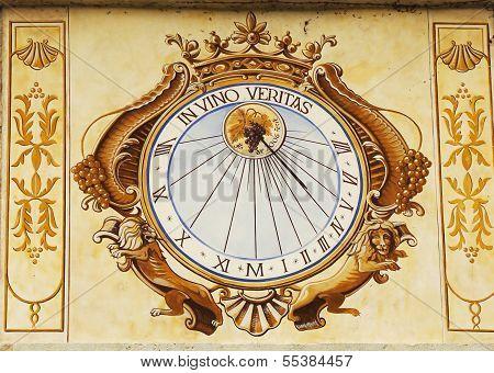 In Vino Veritas Sundial clock in Chateau de Pommard in Burgundy, France
