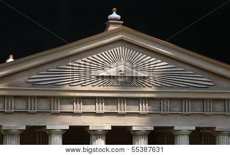 False Greek Temple With Third Eye