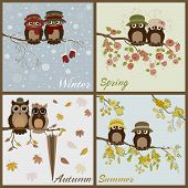 Owls in four seasons- spring summer autumn winter poster
