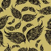 "Seamless pattern with ornate wings (From my big ""Seamless collection"") poster"