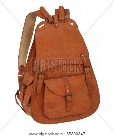 brown backpack isolated on white
