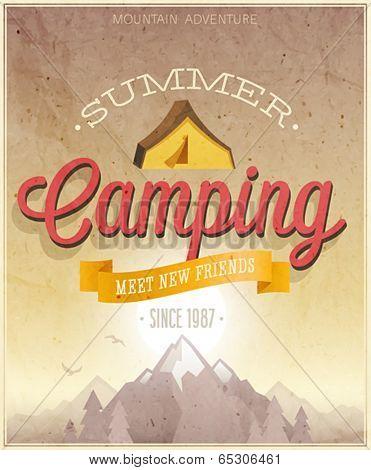 Summer Camping poster. Vector illustration.