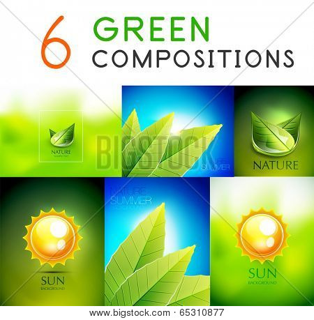 Mega collection of vector green summer concepts - leaves, sky, sun poster