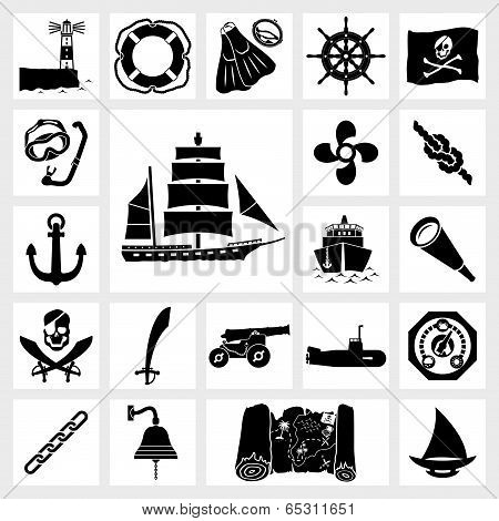 Vector icon set nautical