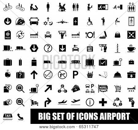 Set of icons airport on white background poster