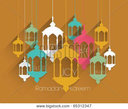 Vector Flat Muslim Oil Lamp Graphics. Translation: Ramadan Kareem - May Generosity Bless You During The Holy Month.