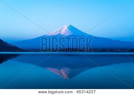 inverted image of Mt  Fuji, View from lake Kawaguchi