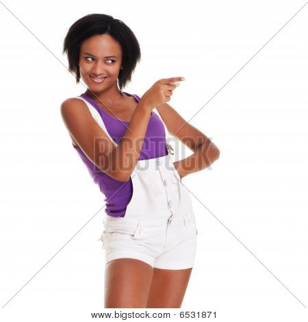 Lively Girl Pointing At Something