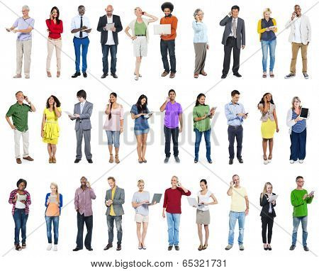 Large Group of Diverse People Using Digital Devices