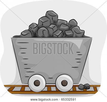 Illustration Featuring a Mine Trolley Full of Coal
