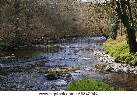 Dane's Brook joins River Barle nr Brewers Castle Exmoor poster