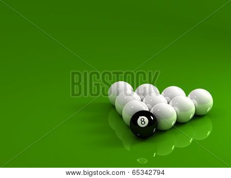 Eight Ball in front of nine white Billiard balls over reflective surface