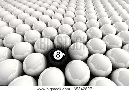 Eight ball surrounded by white billiard balls