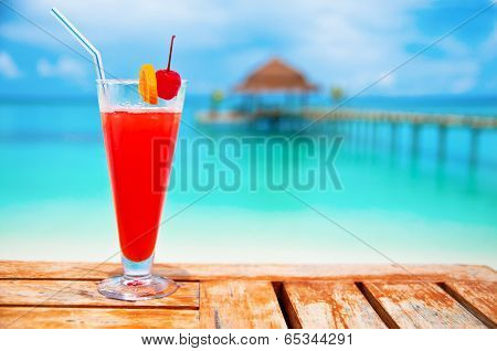 Red Drink At A Beach