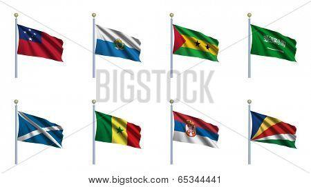 World Flag Set 20 - Samoa, San Marino, Sao Tome and Principe, Saudi Arabia, Scotland, Senegal, Serbia, Seychelles
