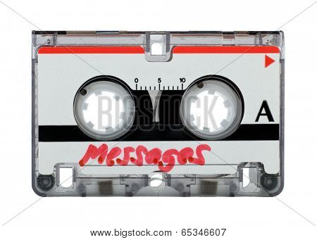 Cassette tape from answering machine over white background --- outer shape clipping path included