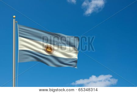 Flag of Argentina with flag pole waving in the wind on front of blue sky