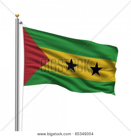 Flag of Sao Tome and Principe with flag pole waving in the wind over white background