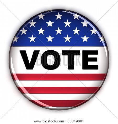 Patriotic vote button over white background