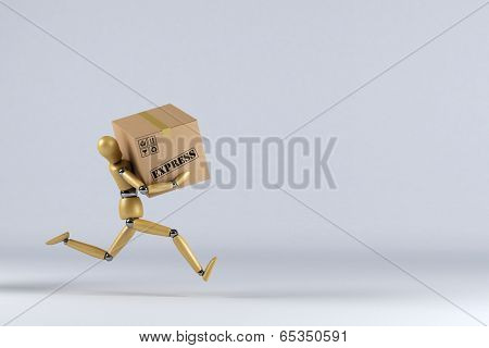 Wooden mannequin rushing an express delivery package to the addressee