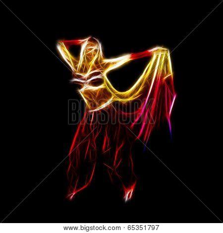 Belly dancer holding skirt neon fractal artwork isolated on black poster