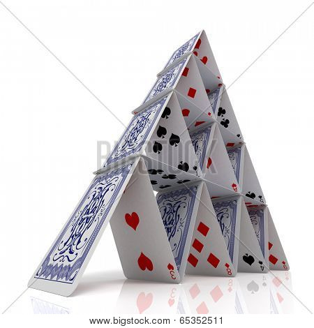 House of cards over a glossy white surface