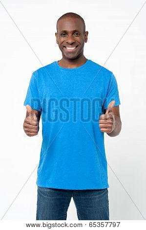 Fashionable Man Showing Double Thumbs Up